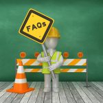 an illustration of a construction worker holding a yield sign with FAQs on it in front of a road block and pilon.