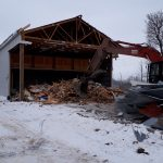 Triple M, a demolition company, tearing down a building in Ontario